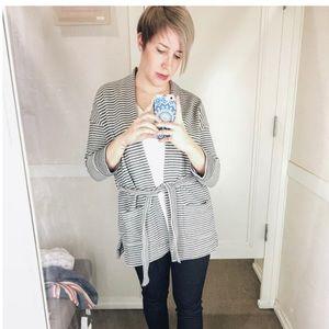Loft Modern Striped Cardigan Size S